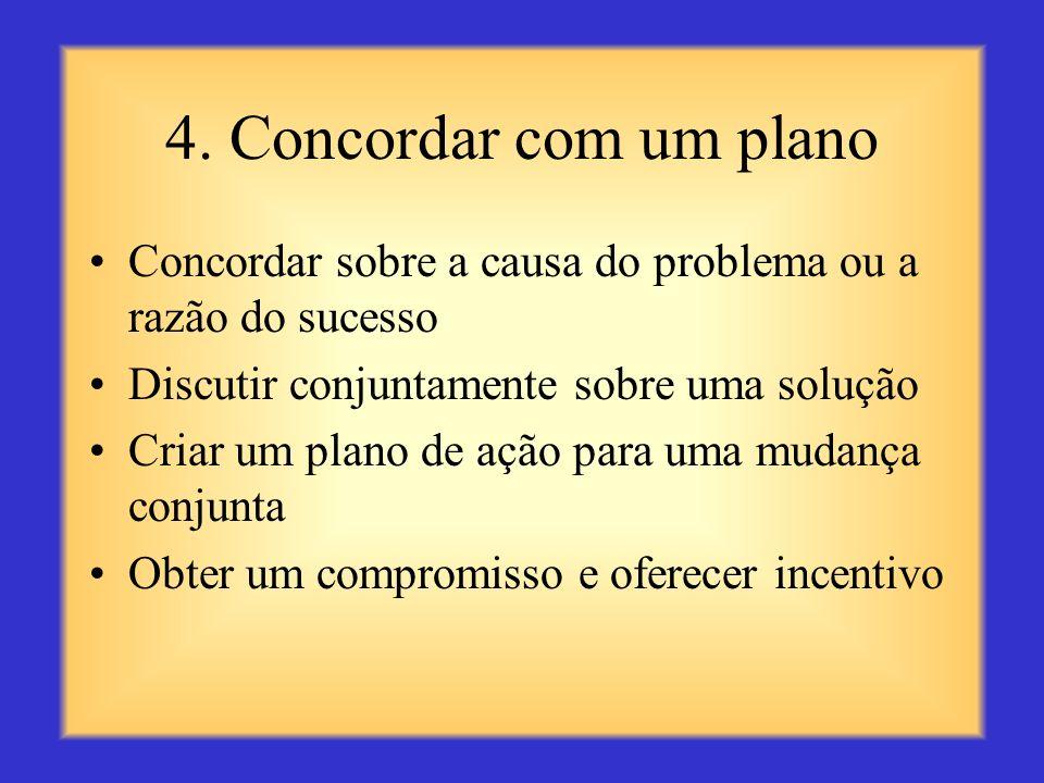 4. Concordar com um planoConcordar sobre a causa do problema ou a razão do sucesso. Discutir conjuntamente sobre uma solução.