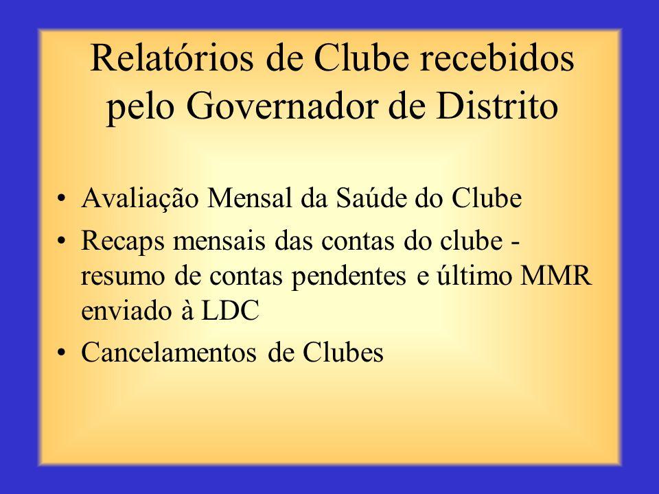 Relatórios de Clube recebidos pelo Governador de Distrito