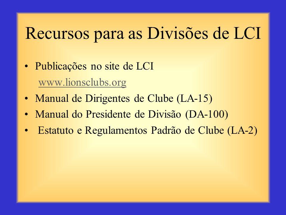 Recursos para as Divisões de LCI