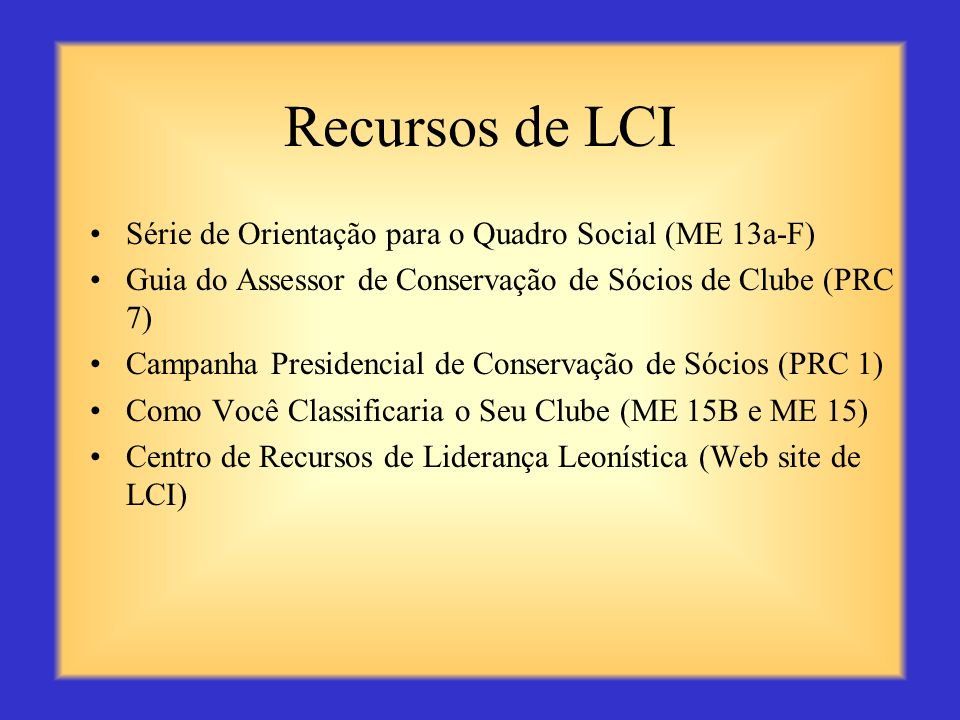 Recursos de LCI Série de Orientação para o Quadro Social (ME 13a-F)