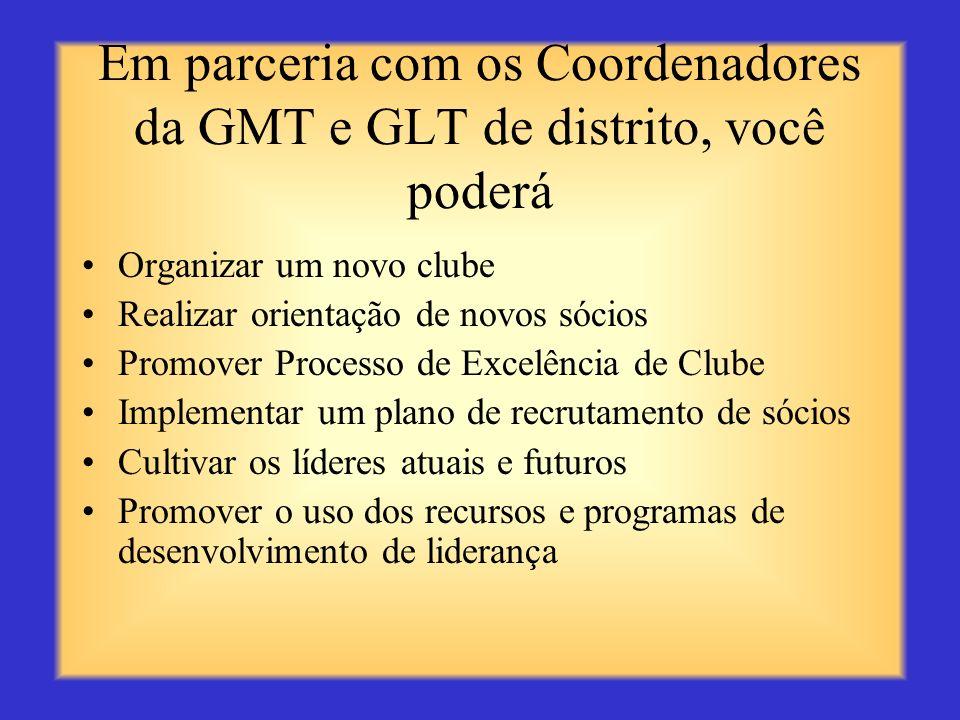 Em parceria com os Coordenadores da GMT e GLT de distrito, você poderá