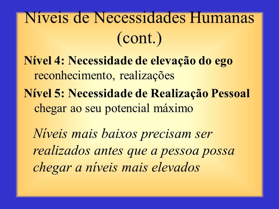 Níveis de Necessidades Humanas (cont.)