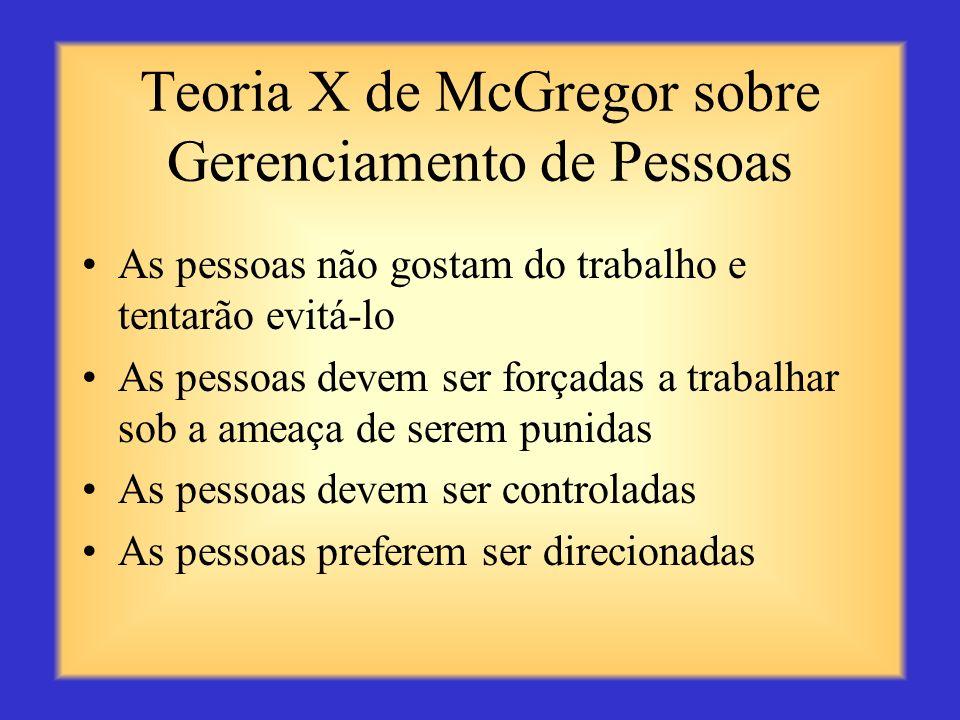 Teoria X de McGregor sobre Gerenciamento de Pessoas