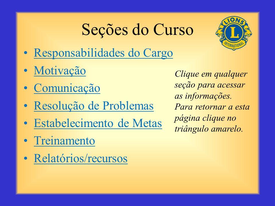 Seções do Curso Responsabilidades do Cargo Motivação Comunicação