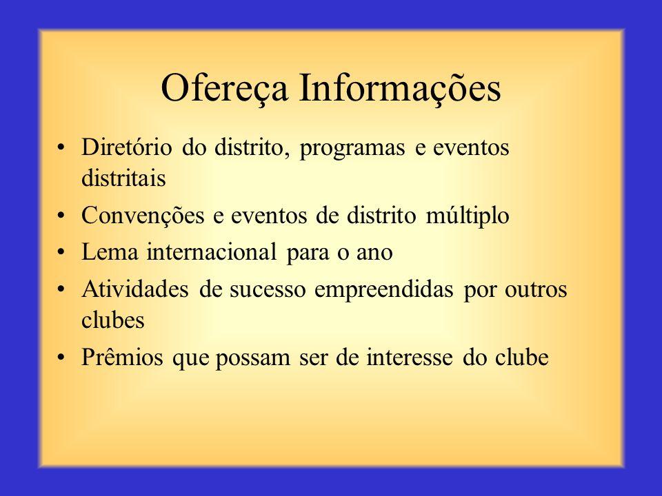 Ofereça Informações Diretório do distrito, programas e eventos distritais. Convenções e eventos de distrito múltiplo.