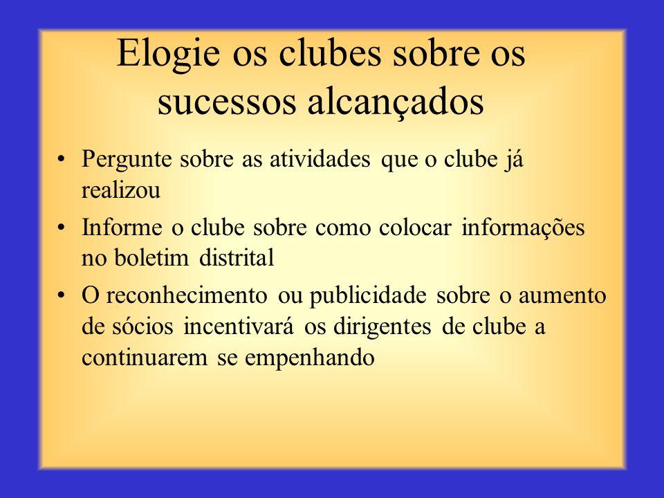 Elogie os clubes sobre os sucessos alcançados