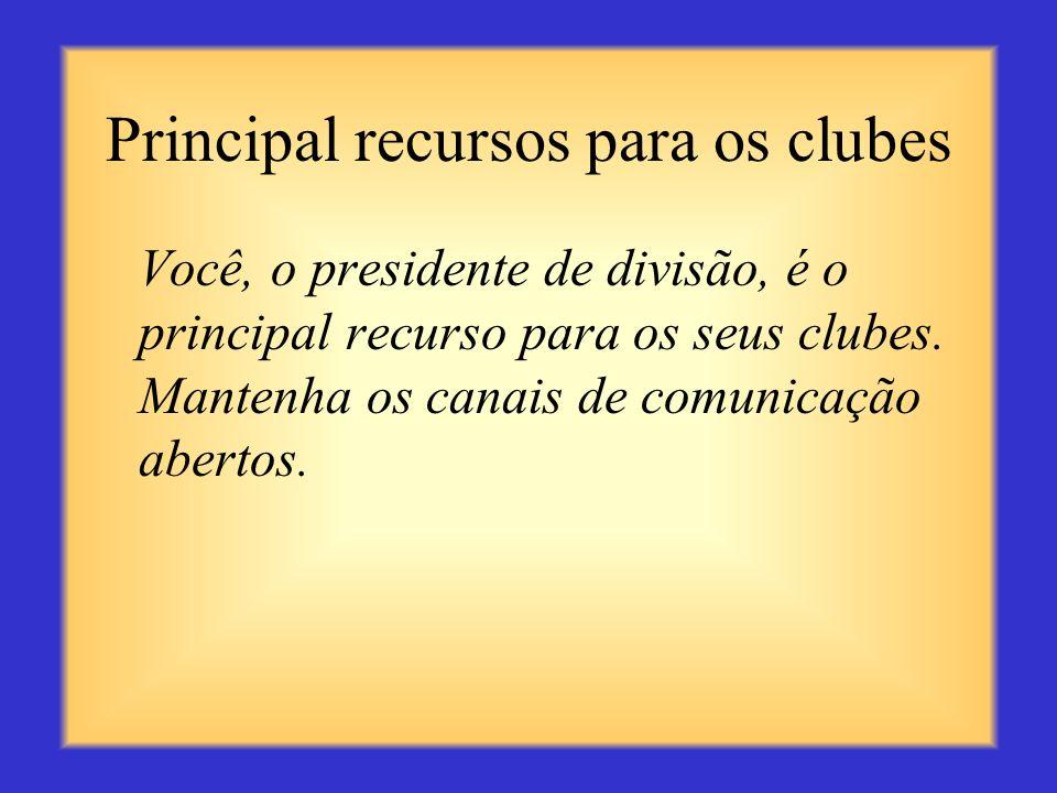 Principal recursos para os clubes
