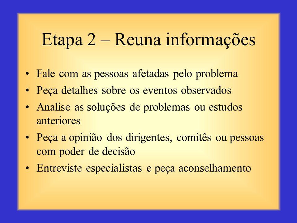 Etapa 2 – Reuna informações