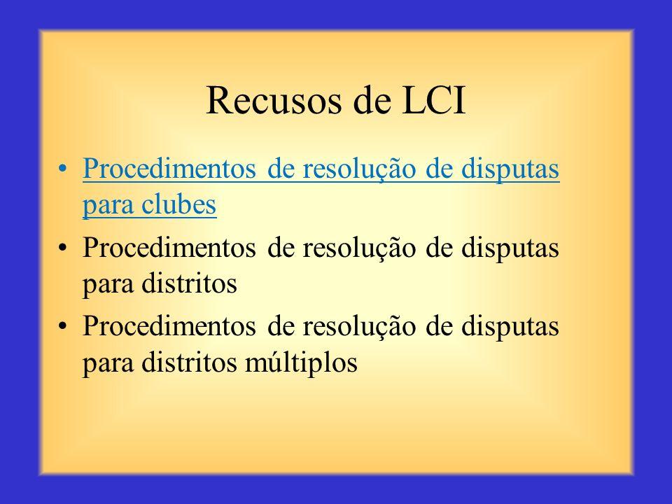 Recusos de LCI Procedimentos de resolução de disputas para clubes