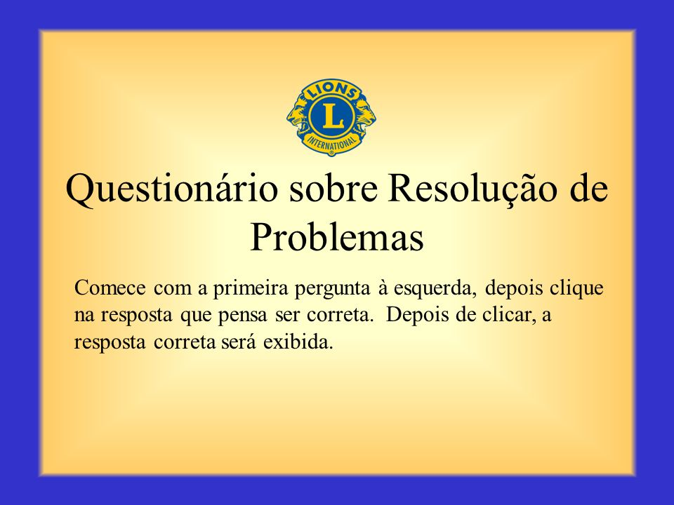 Questionário sobre Resolução de Problemas