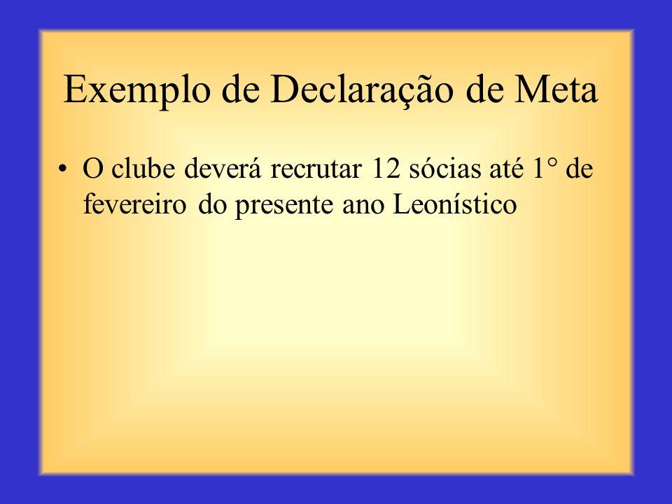 Exemplo de Declaração de Meta