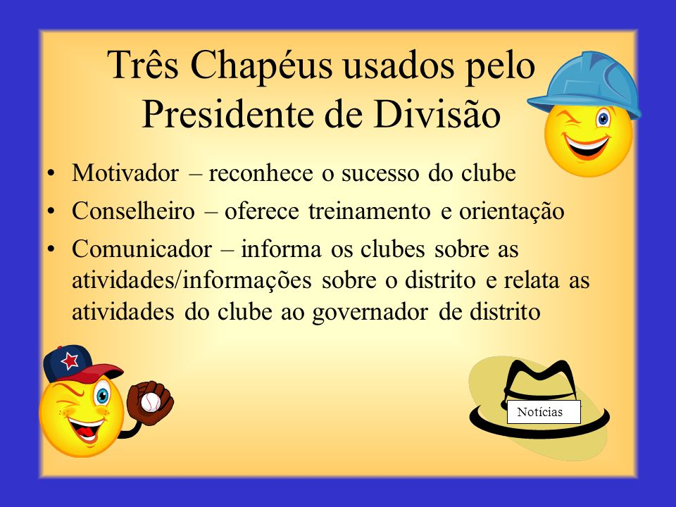Três Chapéus usados pelo Presidente de Divisão