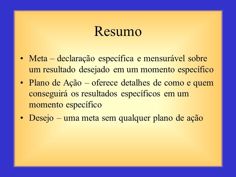 ResumoMeta – declaração específica e mensurável sobre um resultado desejado em um momento específico.