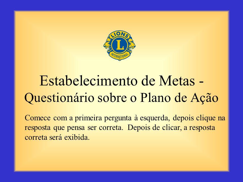 Estabelecimento de Metas - Questionário sobre o Plano de Ação