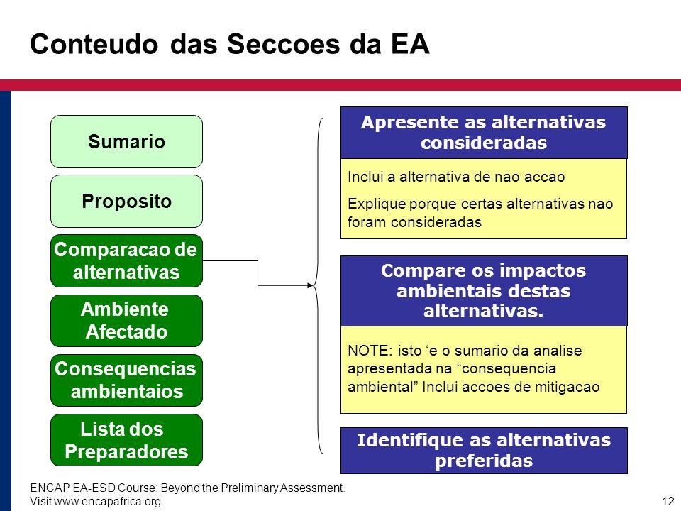 Conteudo das Seccoes da EA