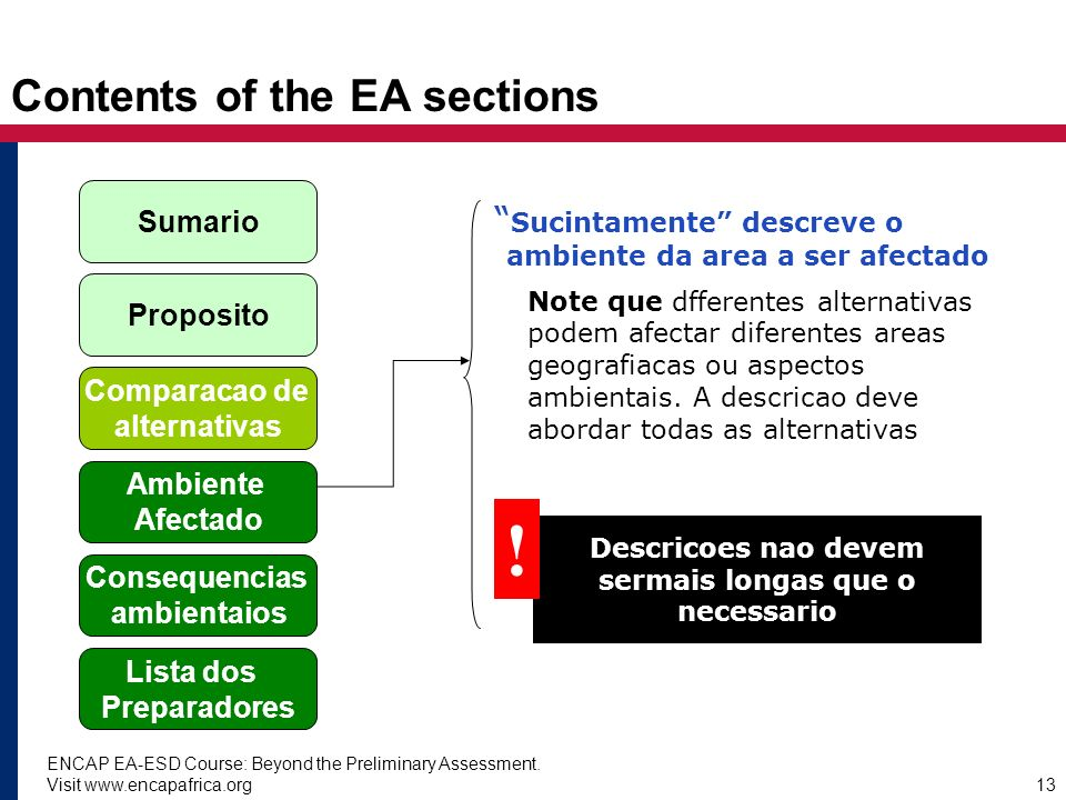 Contents of the EA sections