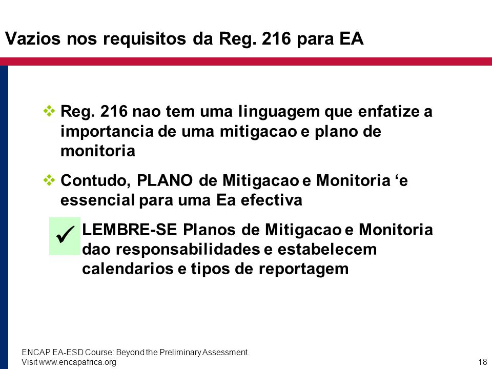 Vazios nos requisitos da Reg. 216 para EA