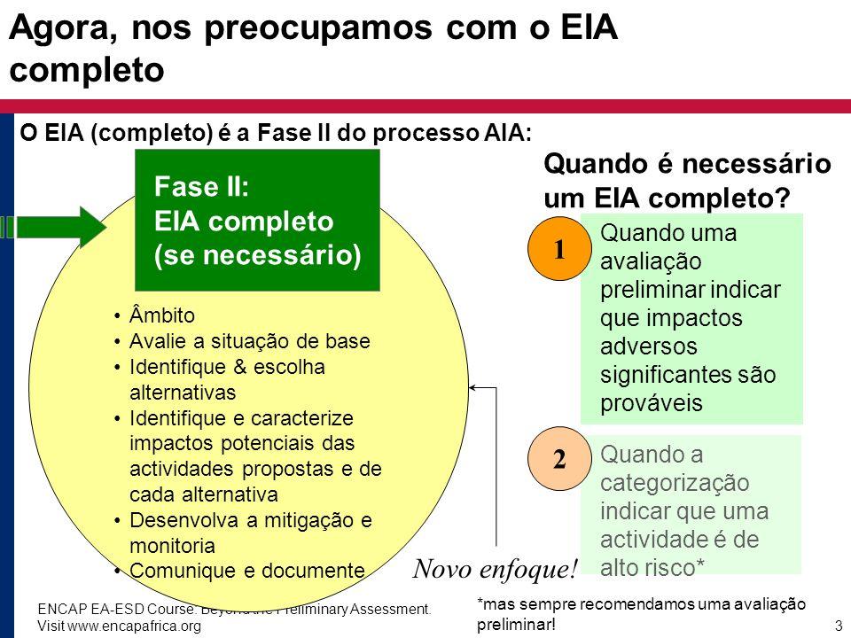 Agora, nos preocupamos com o EIA completo