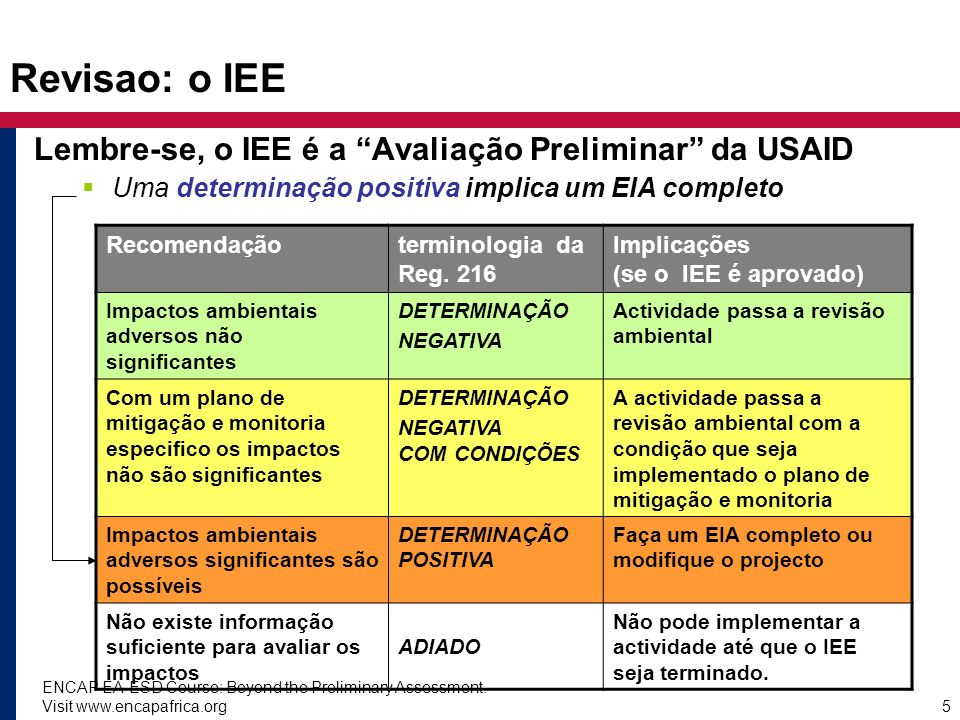 Revisao: o IEE Lembre-se, o IEE é a Avaliação Preliminar da USAID