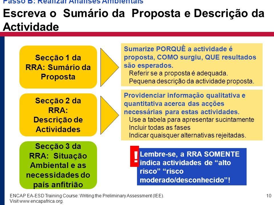 Secção 1 da RRA: Sumário da Proposta Descrição de Actividades