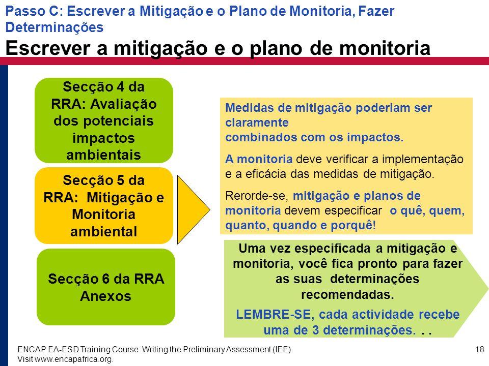 Secção 4 da RRA: Avaliação dos potenciais impactos ambientais