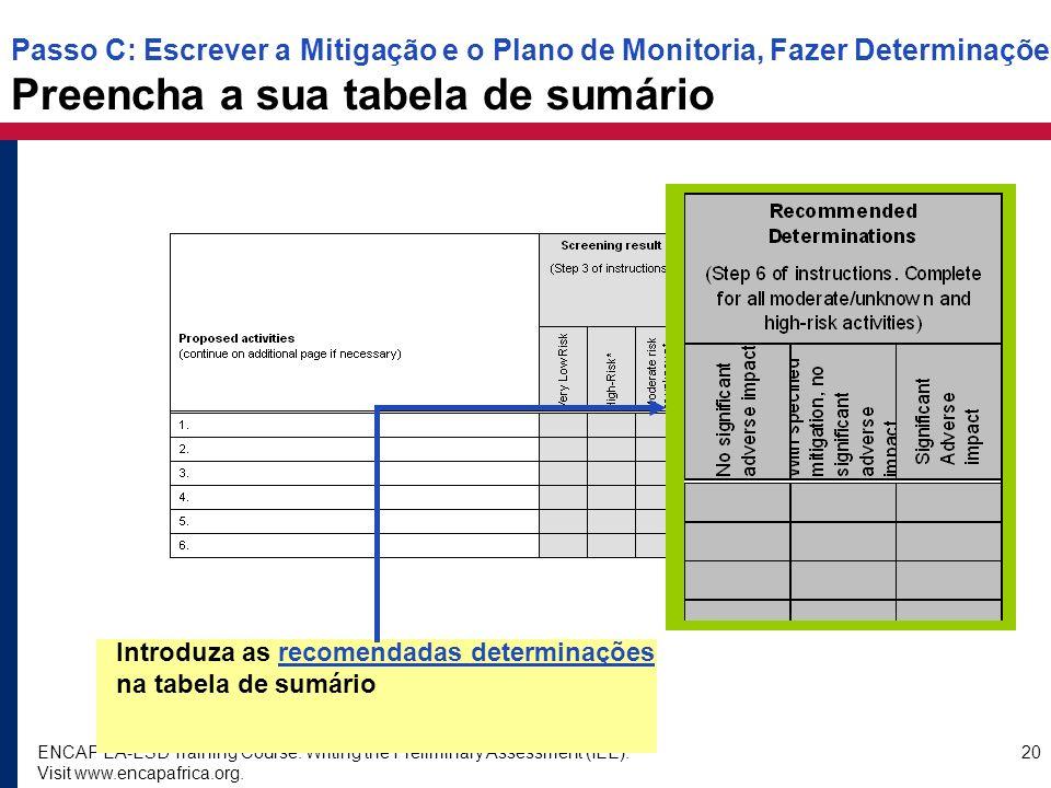 Passo C: Escrever a Mitigação e o Plano de Monitoria, Fazer Determinações Preencha a sua tabela de sumário