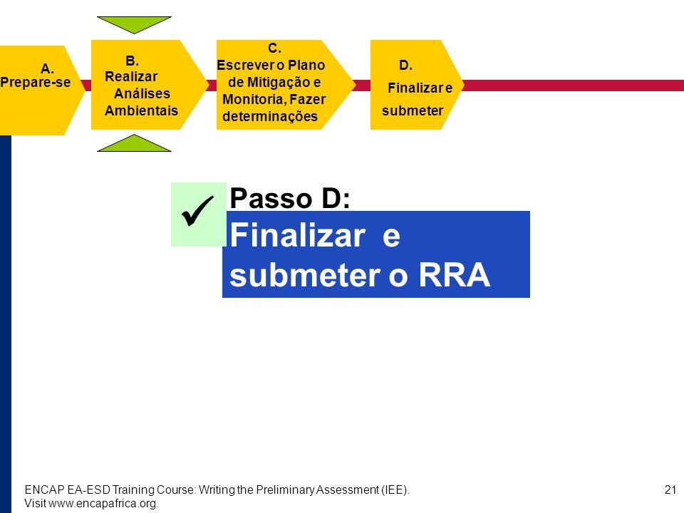  Finalizar e submeter o RRA Passo D: C. B. A. Escrever o Plano D.