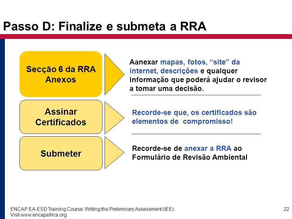 Passo D: Finalize e submeta a RRA