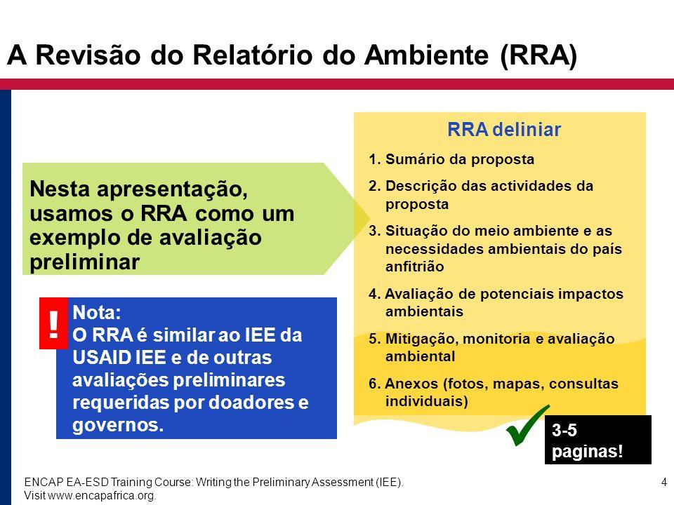 A Revisão do Relatório do Ambiente (RRA)