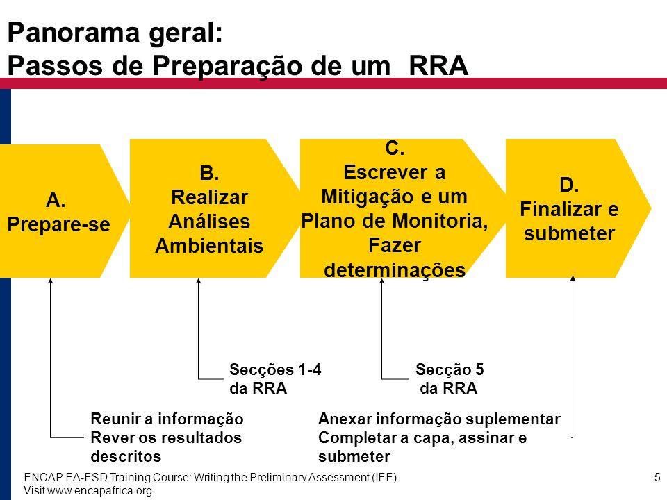 Panorama geral: Passos de Preparação de um RRA