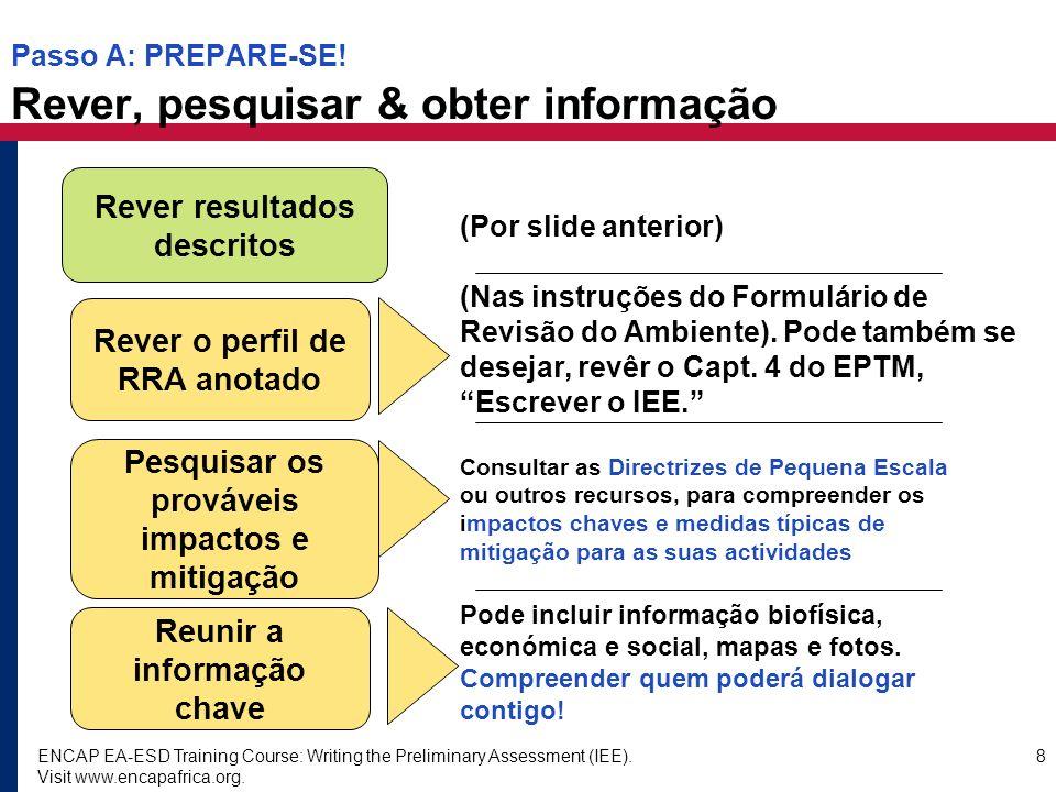Passo A: PREPARE-SE! Rever, pesquisar & obter informação