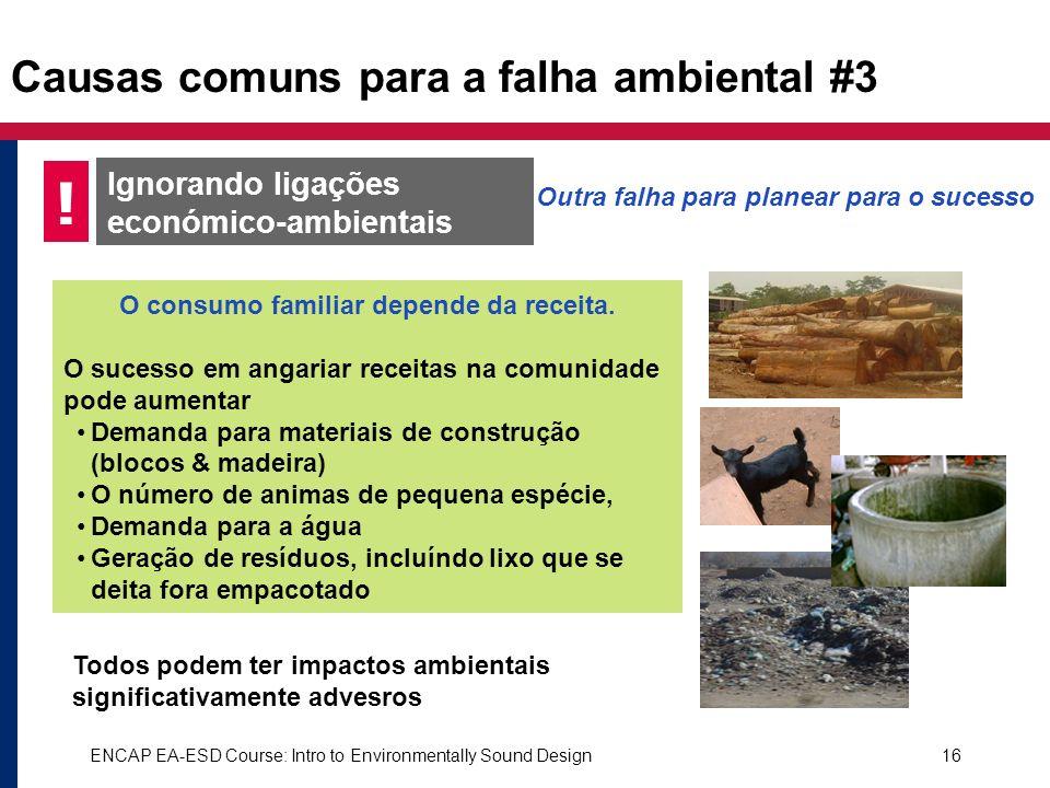 Causas comuns para a falha ambiental #3