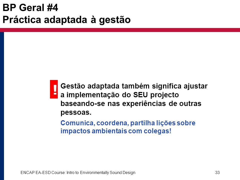 ! BP Geral #4 Práctica adaptada à gestão