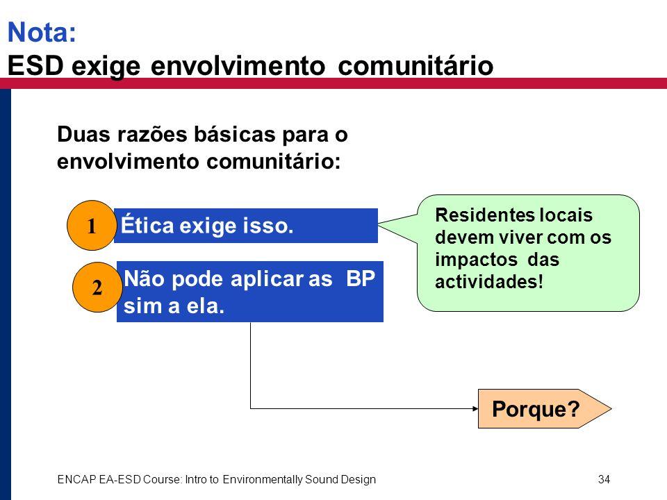 Nota: ESD exige envolvimento comunitário
