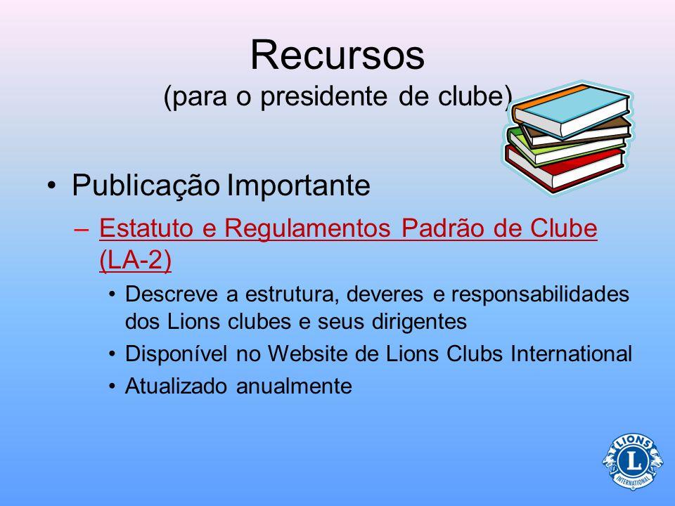 Recursos (para o presidente de clube)