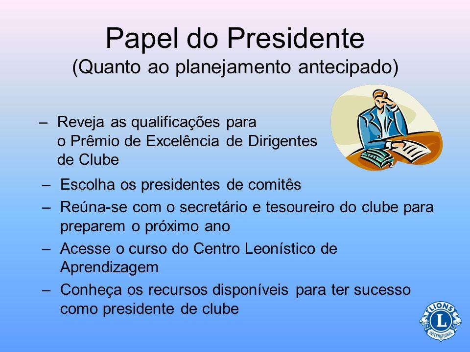 Papel do Presidente (Quanto ao planejamento antecipado)
