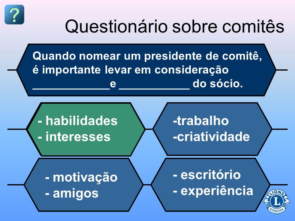 Questionário sobre comitês