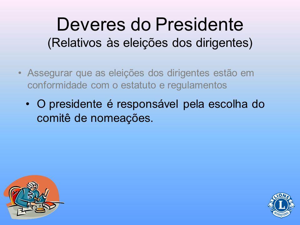 Deveres do Presidente (Relativos às eleições dos dirigentes)