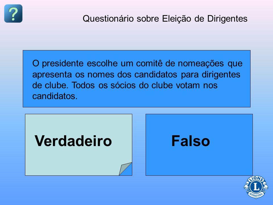 Questionário sobre Eleição de Dirigentes