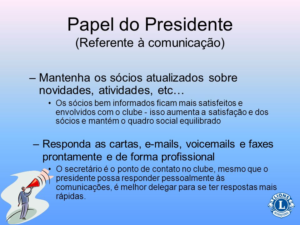 Papel do Presidente (Referente à comunicação)