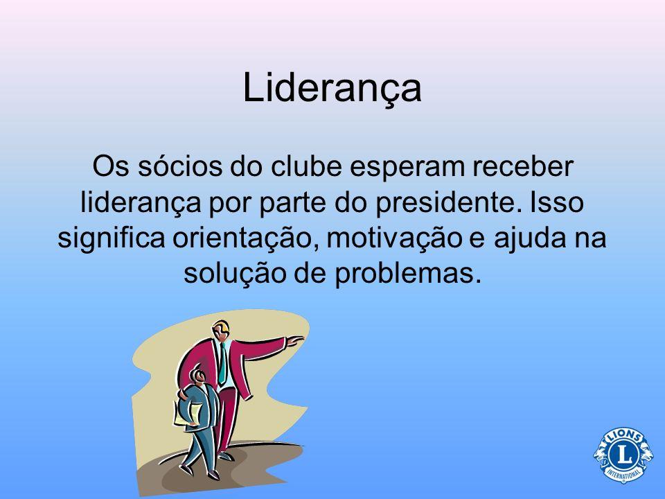 Liderança Os sócios do clube esperam receber liderança por parte do presidente. Isso significa orientação, motivação e ajuda na solução de problemas.
