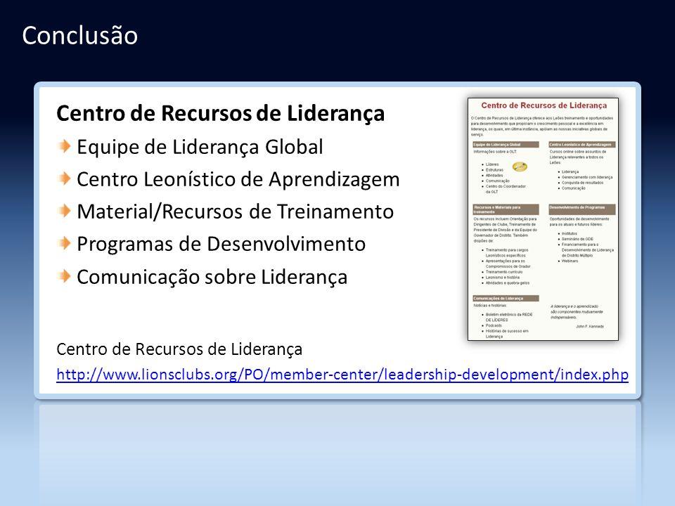 Conclusão Centro de Recursos de Liderança Equipe de Liderança Global