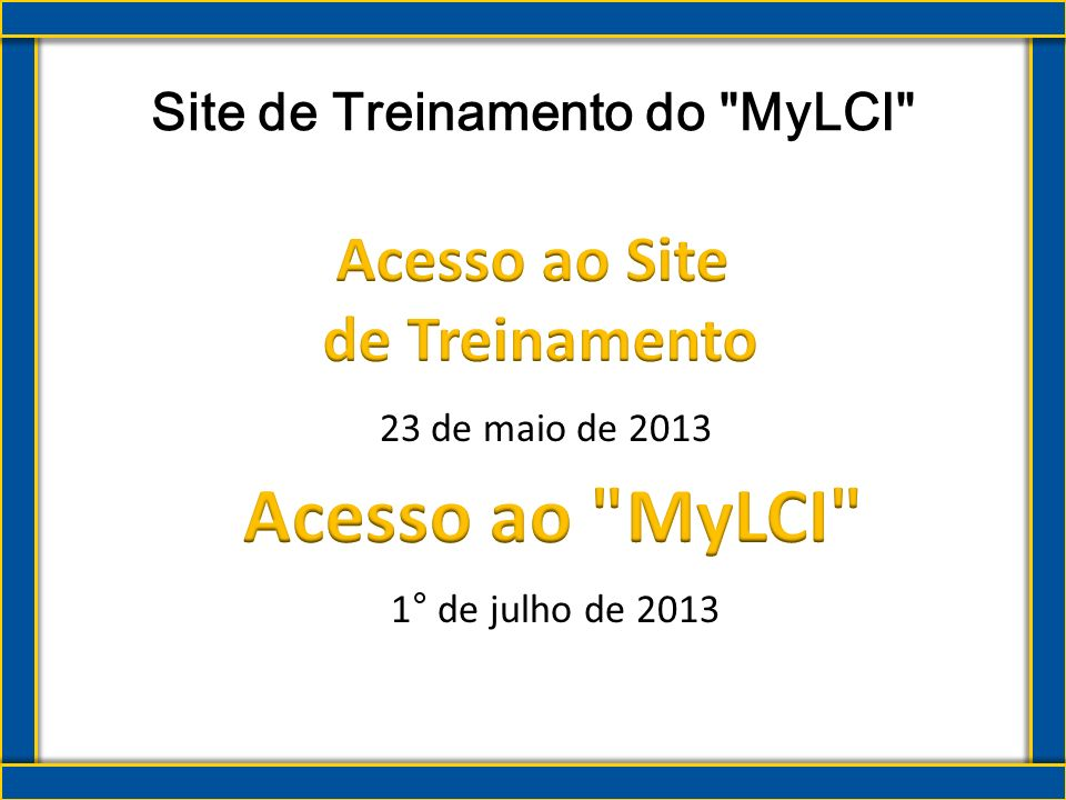 Site de Treinamento do MyLCI
