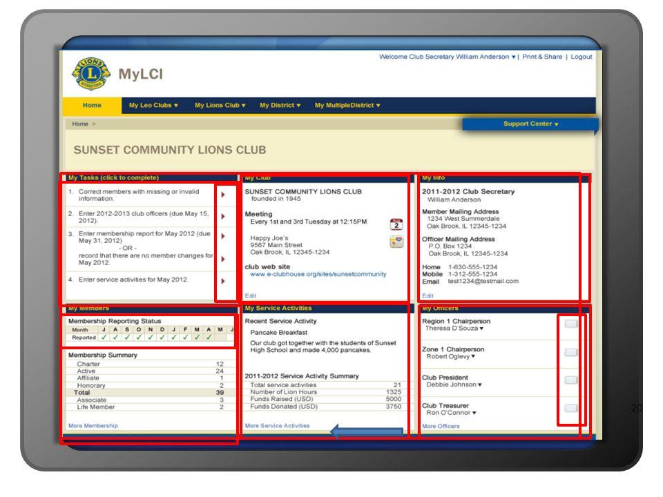 Apresentador B: No meio da página você verá algumas subseções ou painéis contendo informações específicas sobre o seu clube.