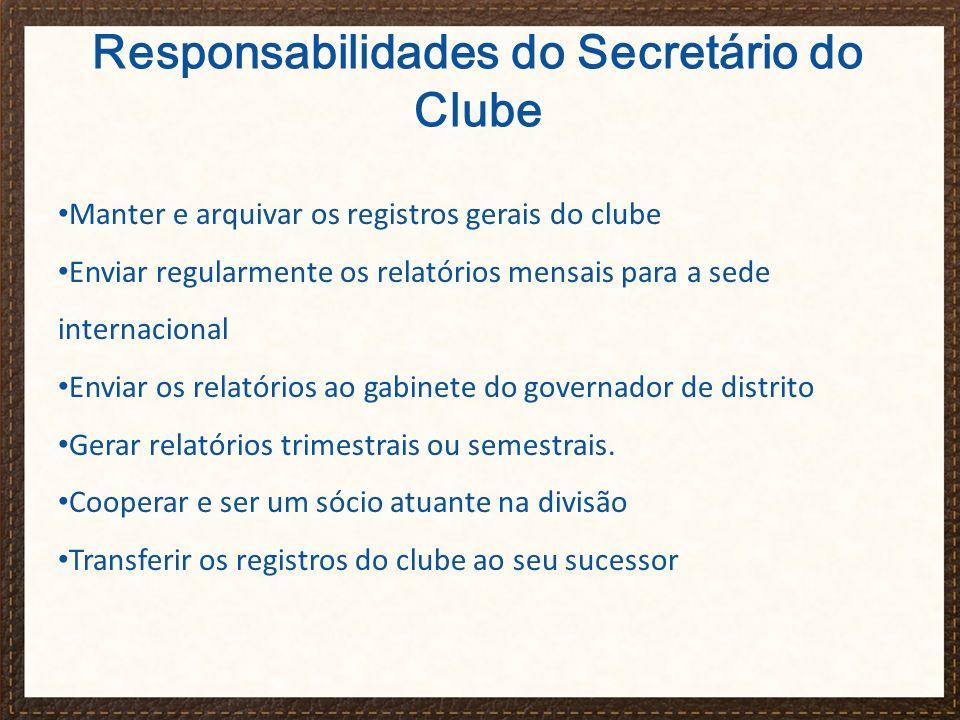 Responsabilidades do Secretário do Clube