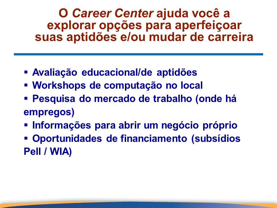 O Career Center ajuda você a explorar opções para aperfeiçoar suas aptidões e/ou mudar de carreira