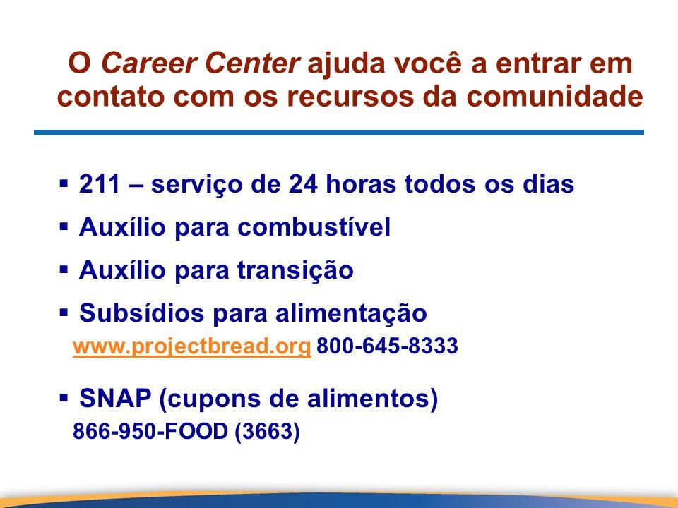 O Career Center ajuda você a entrar em contato com os recursos da comunidade