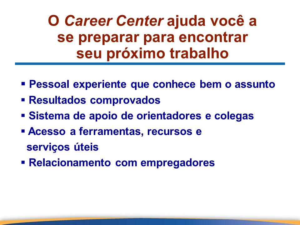 O Career Center ajuda você a se preparar para encontrar seu próximo trabalho