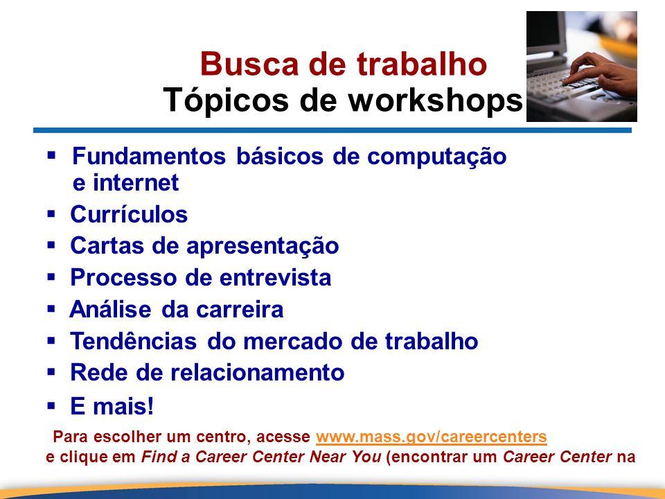 Busca de trabalho Tópicos de workshops