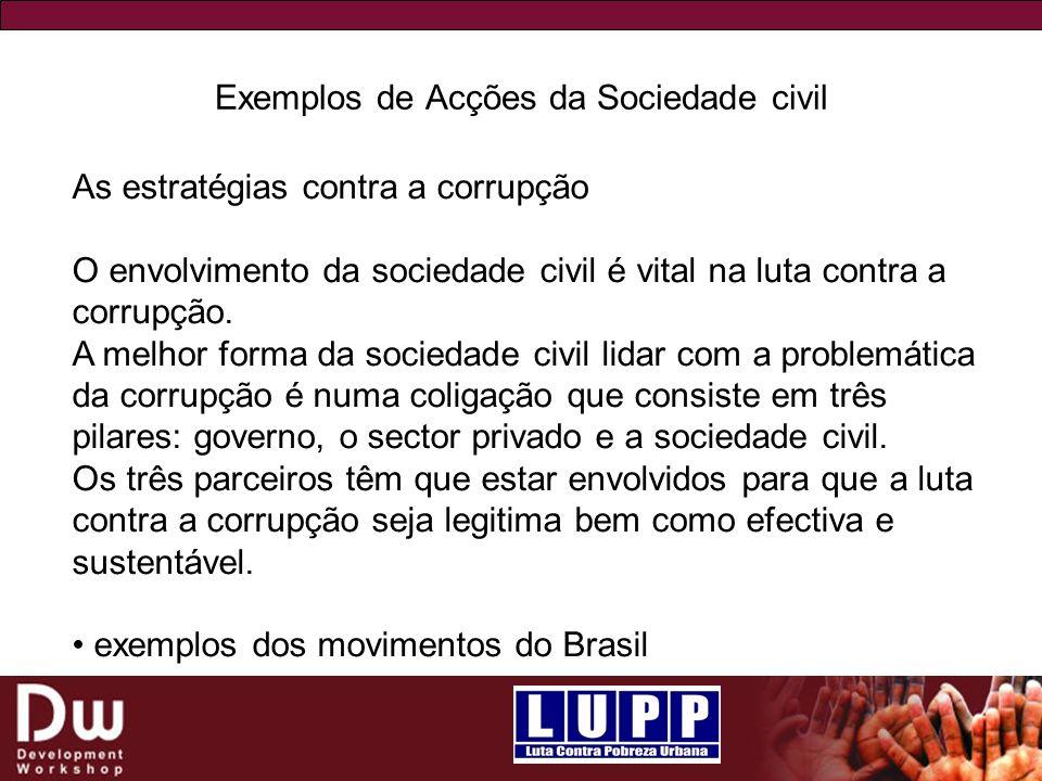 Exemplos de Acções da Sociedade civil